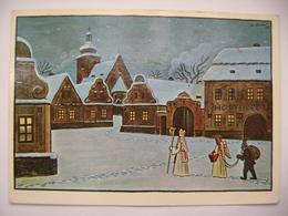 Czech Painter Josef Lada - Czech Winter, Saint Nicholas With Angel And Devil - Christmas Greetings - Posted 1987 - Malerei & Gemälde