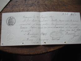 Papier Filigranne  Papier Timbre 1895 Lettre De Changer Timbre Fiscal P Besancon 1897 - Lettres De Change