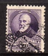 SPAIN ESPAÑA SPAGNA 1931 1934 FRANCISCO PI Y MARGALL CENT. 20c USATO USED OBLITERE' - 1931-Aujourd'hui: II. République - ....Juan Carlos I
