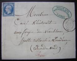 Dinan 1857 Moisan Ainé Fers Et Clous Lettre En Poste Restante Pour Loudéac - 1849-1876: Période Classique