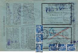 1952- Formulaire N°13 P  De La Caisse D'Epargne - Remboursement Partiel Affr.  Bande De 3 15 F Gandon X 2 - - Marcophilie (Lettres)