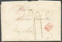 LETTRE De BOUILLON Le 1 Août 1846 + Griffe Rouge SR Vers Ave - Verso : Càd Rouge De NAMUR 2 Août 1846 + Type 18 De ROCHE - 1830-1849 (Belgique Indépendante)