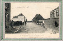 CPA - BULLY-GRENAY (62) - Aspect Du Café De La Concorde Et De La Gendarmerie De La Rue De La Gare En 1919 - Andere Gemeenten