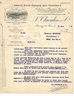 Facture 1913 / 25 BESANCON / L. THIEULIN / Garage Des Chaprais / Agence Rochet, Schneider, Delage, Panhard & Levassor - 1900 – 1949