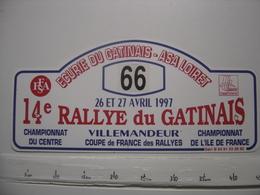 PLAQUE 14e RALLYE AUTOMOBILE Du GATINAIS Villemandeur Participant Numero 66 En 1997 - Plaques De Rallye