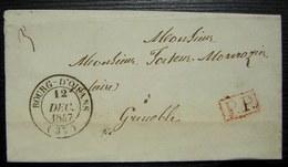 Bourg - D 'Oisans 1847 Port Payé En Rouge Pour Grenoble (Isère) - Postmark Collection (Covers)