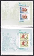 1981 Portogallo, Azzorre Madeira Portugal Azores Madera EUROPA CEPT EUROPE 2 Foglietti MNH** 2 Souv. Sheets - 1981