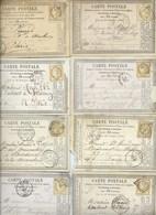 FRANCE - CLASSIQUES : LOT  De 8 Cartes Postales Avec Le N°58/59.  Lettres Bâton. B à TB. - 1871-1875 Ceres