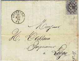 N°31 Sur LAC Oblit. LP60 BRUXELLES Du 16.5.1870 > LIEGE TB Cachet à Sec WILMOTTE - DE VISSCHER Constructeur Mécanicien - 1869-1883 Leopold II