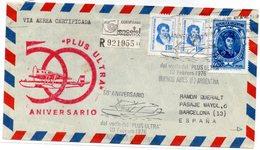 Carta Con Matasellos 50 Aniversario Plus Ultra De 1976. Llegada Barcelona. - Argentina
