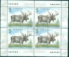 CANADA N°2047 Feuillet De 4 Ex. + 1 Unité Oblitérés (animaux)TB Cote 25 €.(faciale 25 $) - 1952-.... Règne D'Elizabeth II