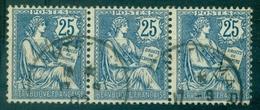 FRANCE VARIETE N° 127 Ob Tache De Couleur Entre 2 Et 5 Dans Bande De 3 . - Abarten: 1900-20 Gebraucht