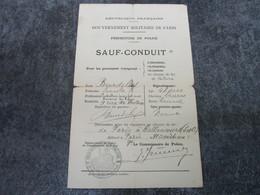 GOUVERNEMENT MILITAIRE DE PARIS - Sauf-Conduit - Documents