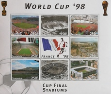 Tanzania  1998 World Cup Soccer Championships, France , Sheet Of 8+label - Tanzania (1964-...)