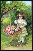 ENFANT - CP - Fillette Avec Fleurs Dans Un Panier - Circulé - Circulated - Gelaufen - 1914. - Autres