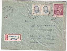 TCHECOSLOVAQUIE 1952 LETTRE RECOMMANDEE DE CHOMUTOV AVEC CACHET ARRIVEE ANSBACH - Tschechoslowakei/CSSR