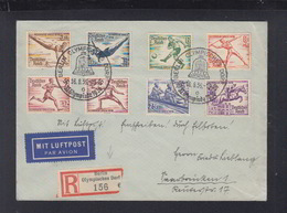 Dt. Reich R-Brief 1936 Olympisches Dorf Flugpost Nach Saarbrücken - Storia Postale