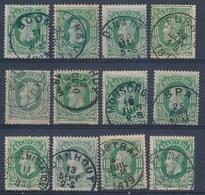 """Nr 30 - 12 Zegels Met Leesbare Stempels"""" - (ref. ST-1167) - 1869-1883 Léopold II"""