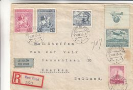 Tchècoslovaquie - Lettre Recom De 1946 - Oblit Horni Blatna - Exp Vers Woerden - Tschechoslowakei/CSSR