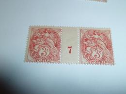 Millésime TYPE BLANC ; 3c Rouge  YT N° 109  Millésime 7 - 1900-29 Blanc