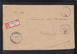 Dt. Reich Feldpost R-Zettel Auf Brief Vorderseite 1944an Schupo Karlsruhe - Briefe U. Dokumente
