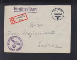 Dt. Reich Feldpost R-Zettel Auf Brief 1942 An Polizeipräsident Karlsruhe - Duitsland