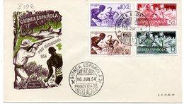 Sobre De Primer Dia De 1954  Serie Nº 334/7  Guinea - Guinée Espagnole
