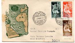Sobre De Primer Dia De 1953  Circulado. Serie Nº 101/3 Sahara - Sahara Espagnol