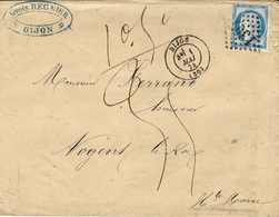 1874- Enveloppe De DIJON ( Cote D'Or ) Cad T17 Affr. N°60 Poids Vérifié 10,50 G TAXE  35 C Manuscrite - 1849-1876: Période Classique