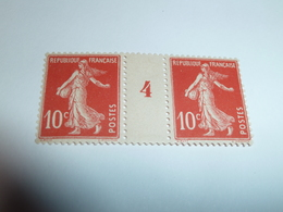 Millésime SEMEUSE CAMEE ; 10c  Rouge  YT N° 138  Millésime 4 - 1906-38 Semeuse Camée