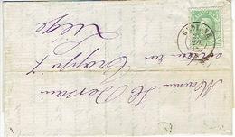 N°30 Sur LAC Oblit. DC GEDINNE Du 27.11.187 Vers LIEGE - Origine CARLSBOURG (Ecole Normale) Via DINANT - 1869-1883 Léopold II