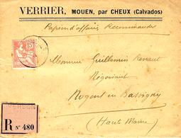 """1904- Enveloppe  RECC. étiquette Rose   """" Papier D'affaires Reccommandé """"  De Verson ( Calvados ) - Marcophilie (Lettres)"""