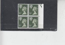 GRAN BRETAGNA  1974 - Unificato 712a  (quartina) - Irlanda Nord - Regionali