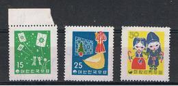 COREA  DEL  SUD:  1958  NATIVITA'  -  S. CPL. 3  VAL. N. -  YV/TELL. 217/19 - Corea Del Sud