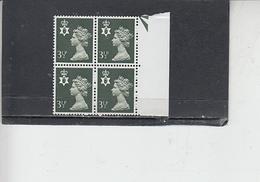 GRAN BRETAGNA  1974 - Unificato 713  (quartina) - Irlanda Nord - Regionali