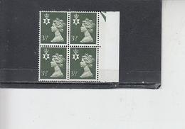 GRAN BRETAGNA  1974 - Unificato 713a  (quartina) - Irlanda Nord - Regionali