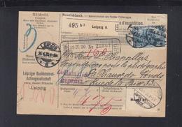 Dt. Reich Paketkarte 1920 Leipzig Nach Schweiz MeF - Storia Postale