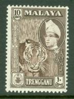 Malaya - Trengganu: 1957/63   Sultan Ismail - Pictorial    SG94   10c  Deep Brown   MH - Trengganu