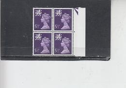 GRAN BRETAGNA  1974 - Unificato 716  (quartina) - Galles - Regionali