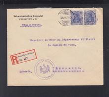 Dt. Reich R-Brief 1916 Schweizerisches Konsulat Zensur Absender Erscheint Vertrauenswürdig Nach Schweiz - Germany