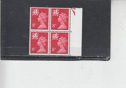 GRAN BRETAGNA  1974 - Unificato 719  (quartina) - Galles - Regionali