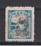 COREA  DEL  SUD:  1951  SOPRASTAMPATO  -  300 W. / 10 W.  BLU-VERDE  N. -  YV/TELL. 78 - Corea Del Sud