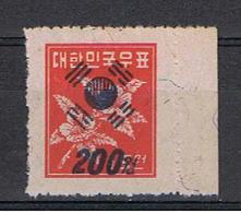 COREA  DEL  SUD:  1951  SOPRASTAMPATO  -  200 W. / 15 W.  ROSSO  N. -  YV/TELL. 76 - Corea Del Sud