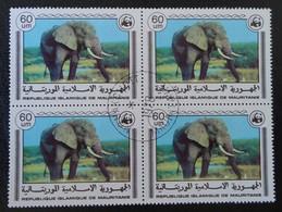 WWF - ANIMAUX EN PERIL - ELEPHANT 1978 - 1 BL X 4 OBLITERE - YT 390 - MI  599 - Mauritania (1960-...)