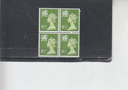 GRAN BRETAGNA  1976 - Unificato 779  (quartina) -Galles - Regionali