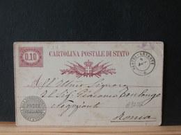 A9286   CP POUR ROMA  OBL.SESTRI LEVANTE  1878 - 1861-78 Victor Emmanuel II