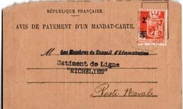 Bâtiment De Ligne Richelieu 1945 - Avis De Payement Mandat Carte - Cachet Faible Et Griffe Au Verso - Toulon Sur Mer - Marcophilie (Lettres)