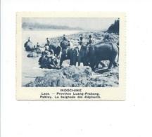 INDOCHINE Chromo Laos Luang Prabang Elephant Bien Rien Au Dos 75 X 60 Mm - Otros