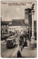 VICENZA PONTE DEGLI ANGELI COLONNA E PALAZZO DELL'ACCADEMIA E TRAM - CARTOLINA ANIMATA SPEDITA NEL 1924 - Vicenza