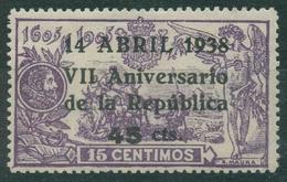 España 1938 - Edifil 755 MH - VII Aniversario De La República - 1931-Hoy: 2ª República - ... Juan Carlos I
